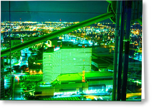 Green Geodeck Neon In Dallas  Greeting Card by ARTography by Pamela Smale Williams