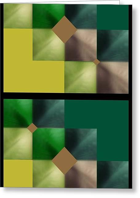 Greeting Card featuring the digital art Green Glow Check by Ann Calvo