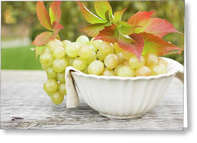 Green Grapes And Autumn Leaves In White Bowl Greeting Card