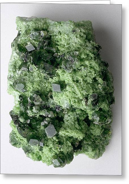 Green Grossular (garnet) In Matrix Greeting Card