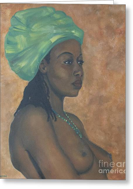 Greeting Card featuring the painting Green Headwrap by Dwayne Glapion