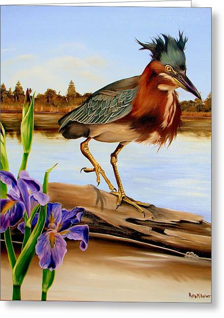 Greeting Card featuring the painting Green Heron Dance by Phyllis Beiser