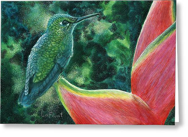 Greeting Card featuring the drawing Green Hummingbird by Sandra LaFaut