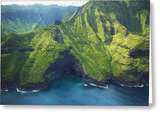 Green Kauai Cavern Greeting Card by Kicka Witte