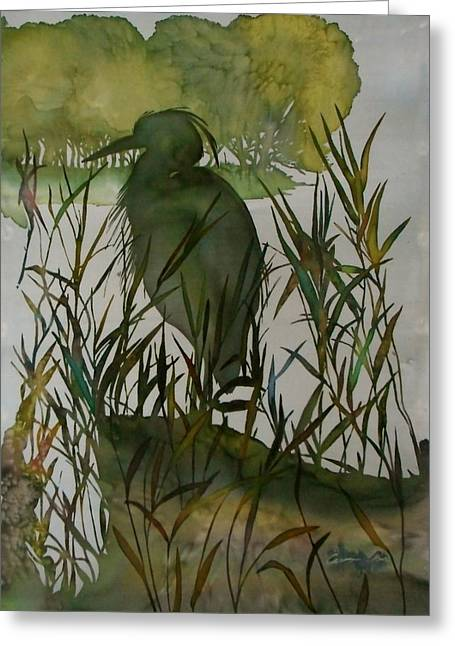 Green Lake Walk Greeting Card by Carolyn Doe