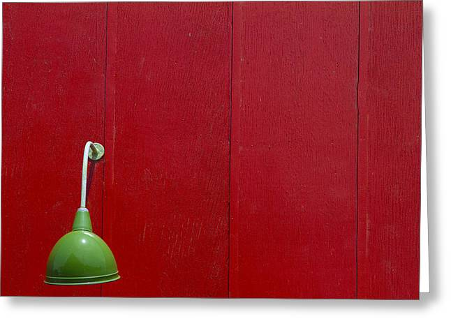Green Lamp Red Wood Greeting Card by Rebecca Cozart