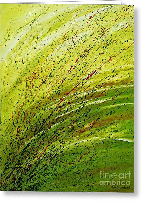 Green Landscape - Abstract Art  Greeting Card