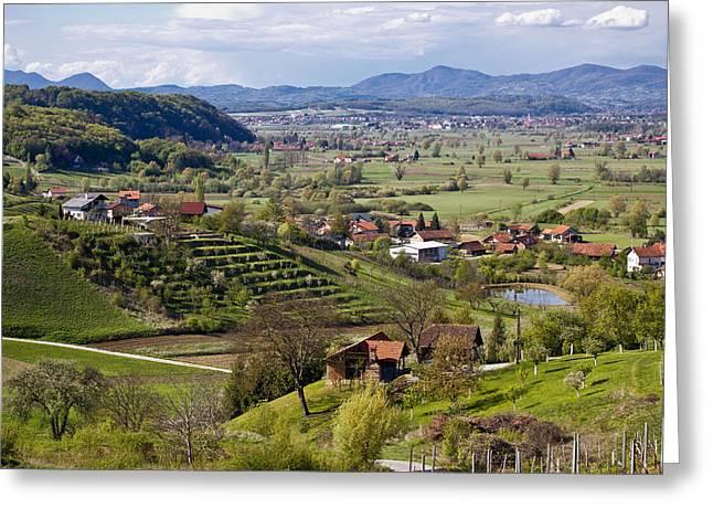 Green Landscape Of Zagorje Region Greeting Card