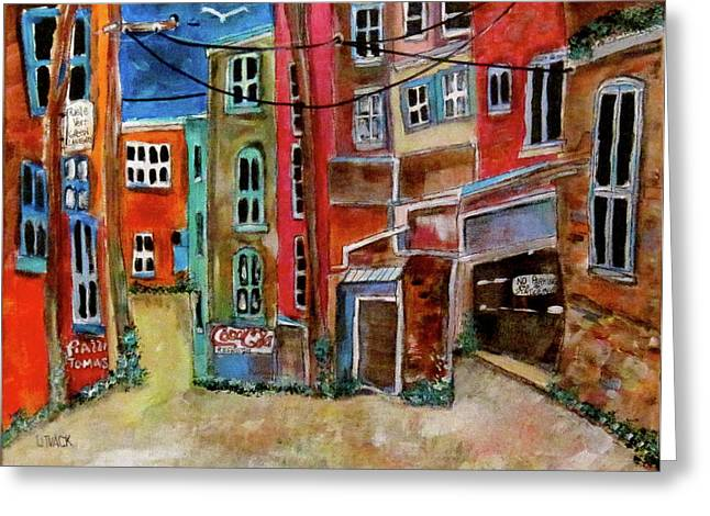 Green Laneway Greeting Card by Michael Litvack