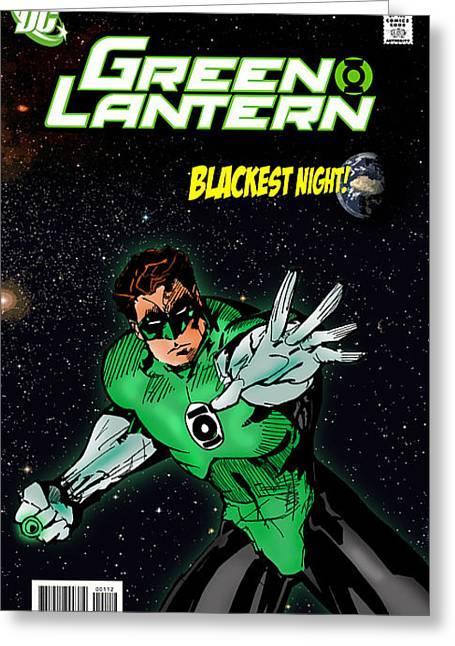 Green Lantern Greeting Card by Mark Rogan