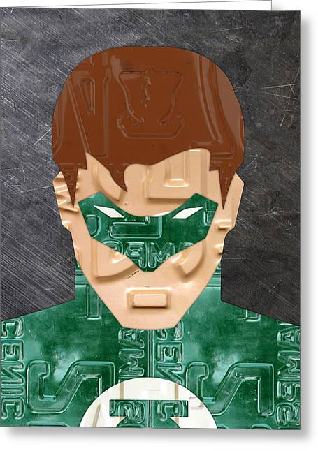 Green Lantern Superhero Portrait Recycled License Plate Art Greeting Card by Design Turnpike