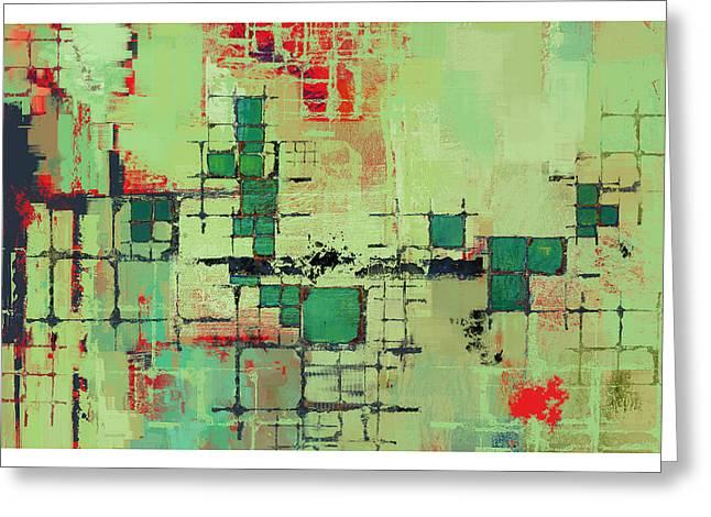 Green Lattice Abstract Art Print Greeting Card by Karyn Lewis Bonfiglio