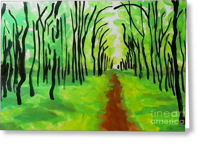 Greeting Card featuring the painting Green Leaves by Marisela Mungia