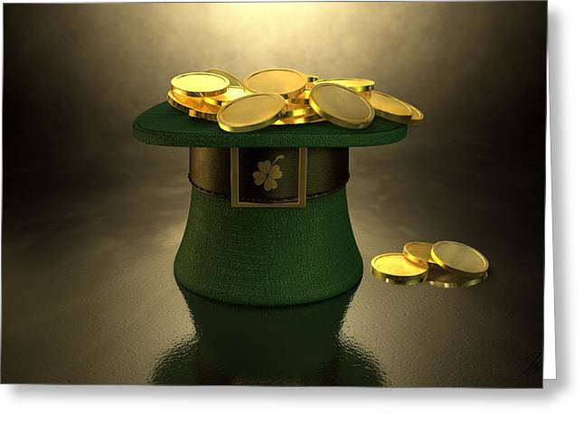 Green Leprechaun Hat Filled With Gold Coins Greeting Card by Allan Swart