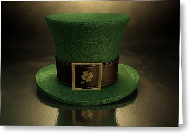 Green Leprechaun Shamrock Hat Greeting Card by Allan Swart