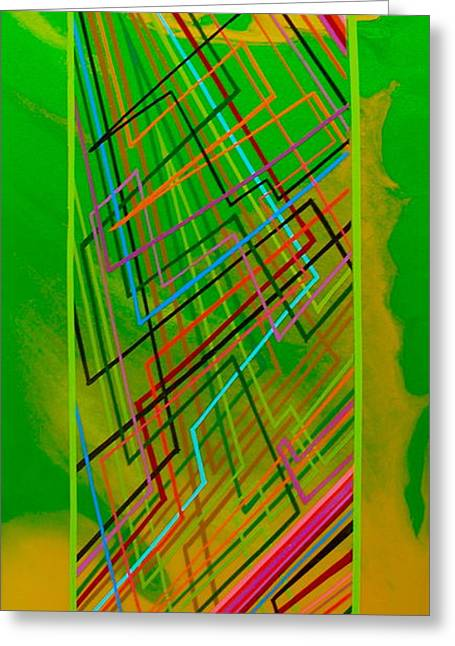 Green Lightning Greeting Card