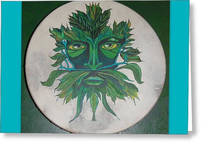 Green Man On Bodhran Greeting Card by Linda Prewer