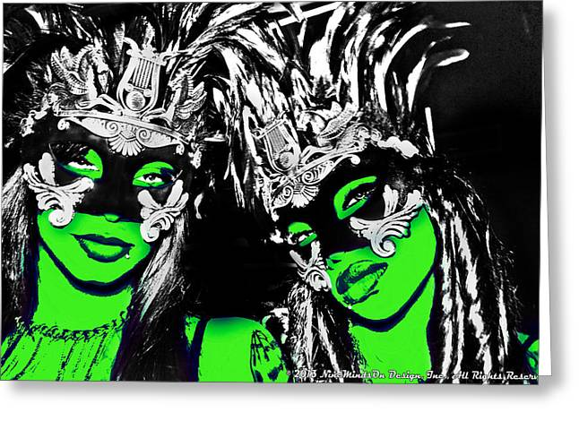 Green Mask  Greeting Card by Ley Clarie Gray