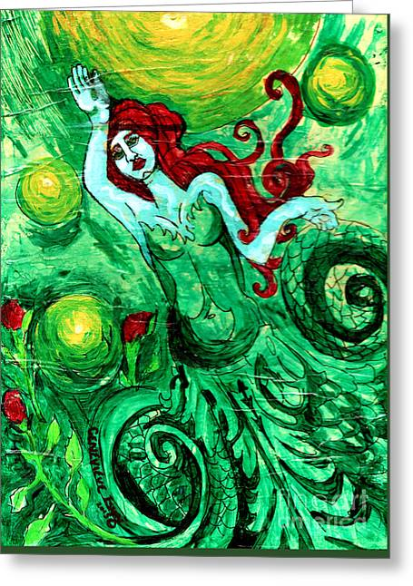 Green Mermaid With Red Hair And Roses Greeting Card