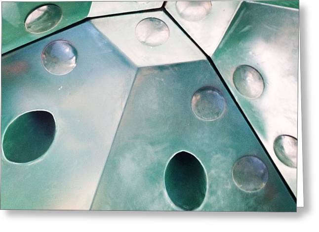 Green Metal Abstract Greeting Card by Christy Beckwith