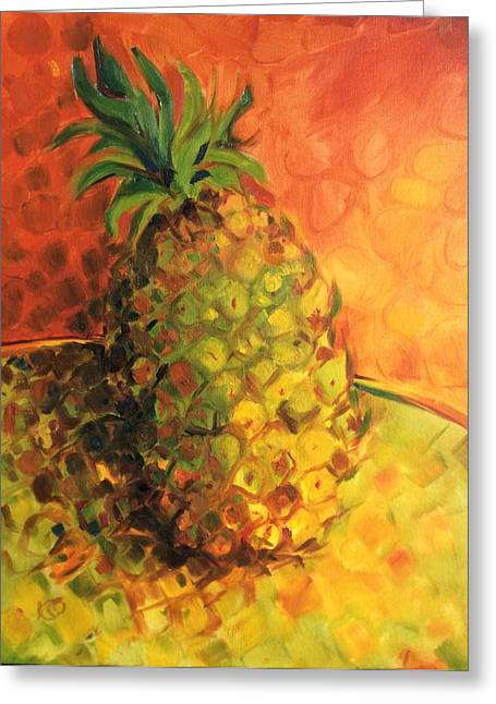 Green Orange Pineapple Greeting Card