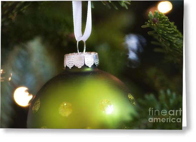 Green Ornament Hanging In Tree Greeting Card by Birgit Tyrrell