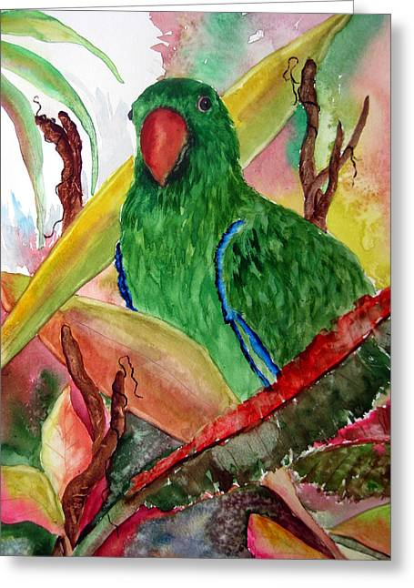 Greeting Card featuring the painting Green Parrot by Lil Taylor