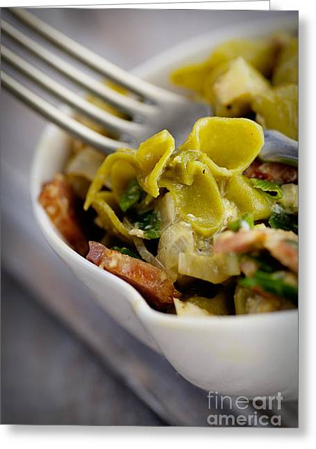 Green Pasta With Vegetables Greeting Card by Mythja  Photography