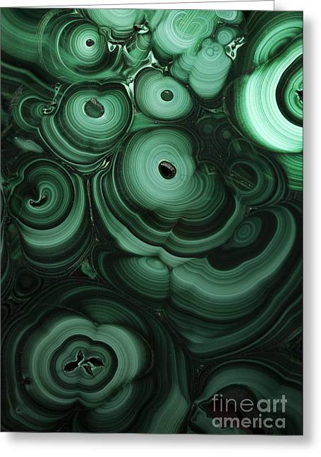 Green Patterns Of Malachite Greeting Card by Jaroslaw Blaminsky