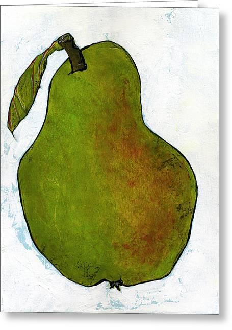 Green Pear On White Greeting Card by Blenda Studio