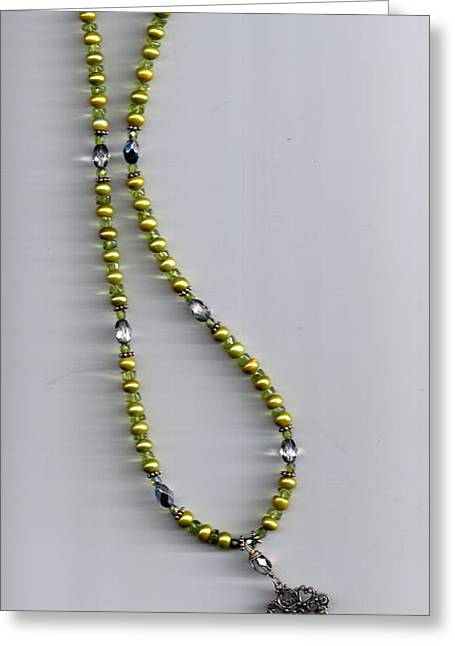 Green Pearl With Drop Greeting Card