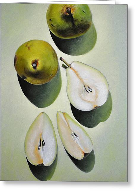 Green Pears - Pastel Greeting Card