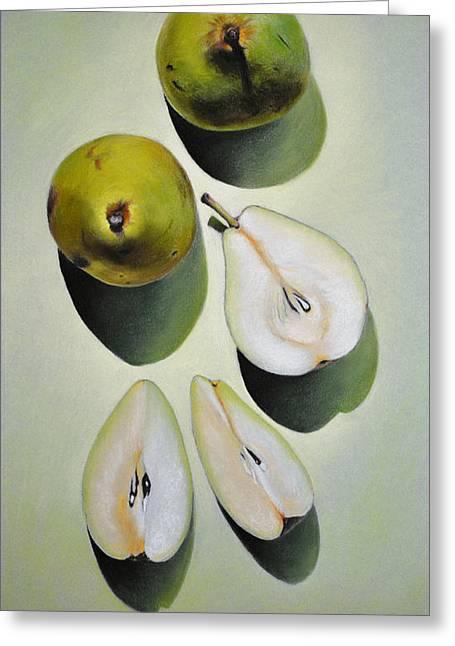 Green Pears - Pastel Greeting Card by Ben Kotyuk
