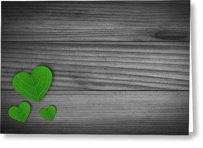 Green Pedal Shaped Hearts Greeting Card by Aged Pixel