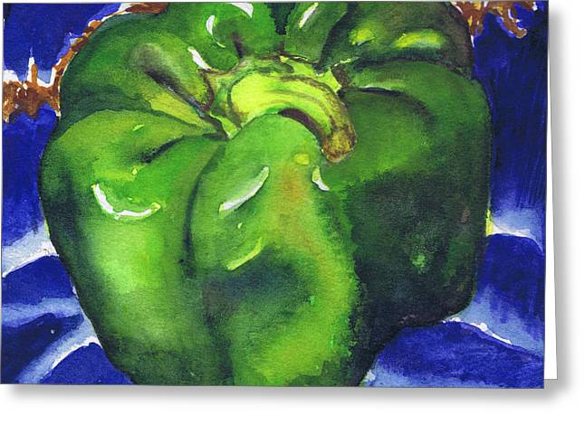 Greeting Card featuring the painting Green Pepper On Blue Tile by Susan Herbst