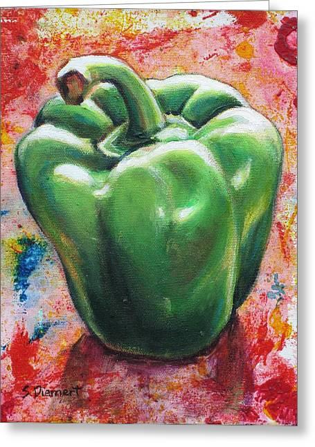 Green Pepper Greeting Card by Sheila Diemert