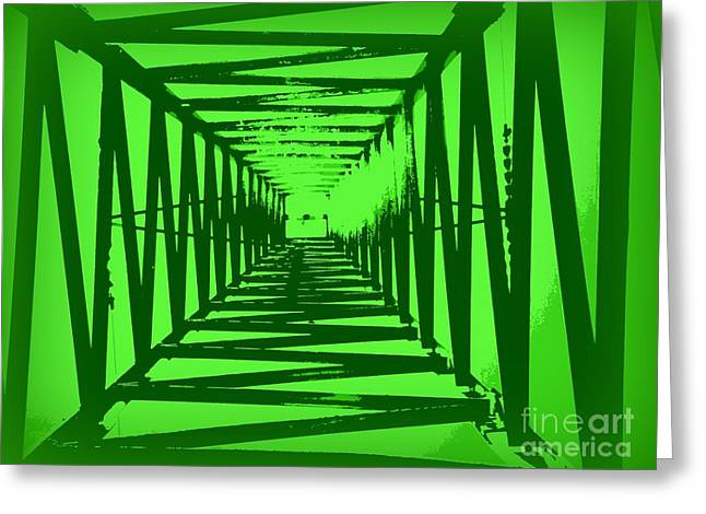 Green Perspective Greeting Card by Clare Bevan