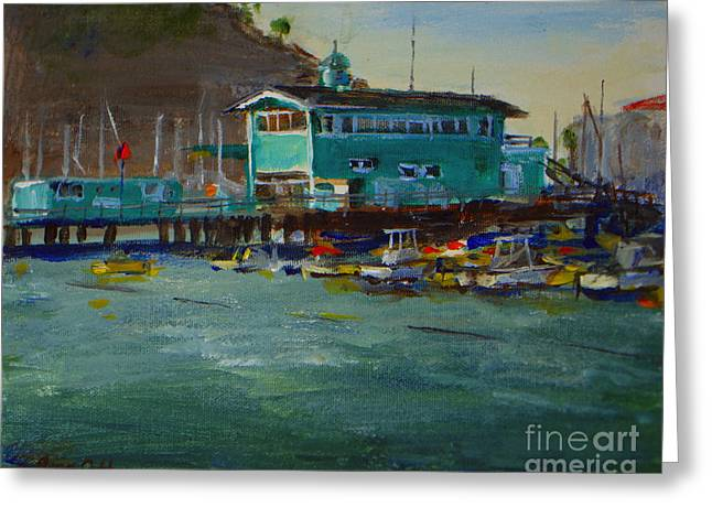 Green Pier Early Evening Greeting Card by Joan Coffey