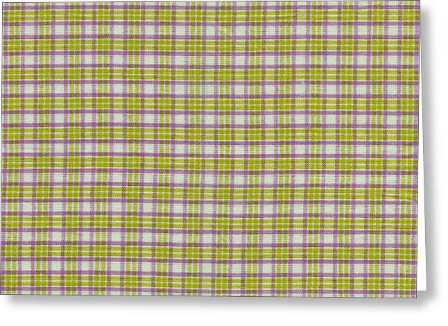 Green Pink And White Plaid Design Fabric Background Greeting Card by Keith Webber Jr