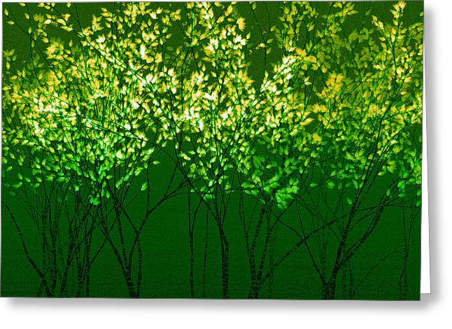 Green Print Greeting Card by A Dx