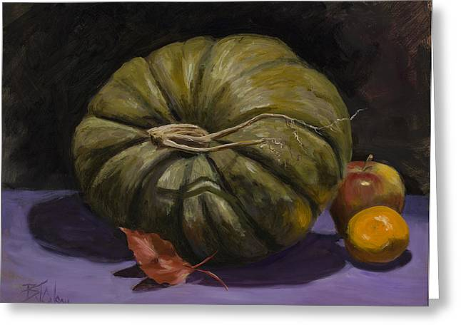 Green Pumpkin With Friends Greeting Card by Billie Colson