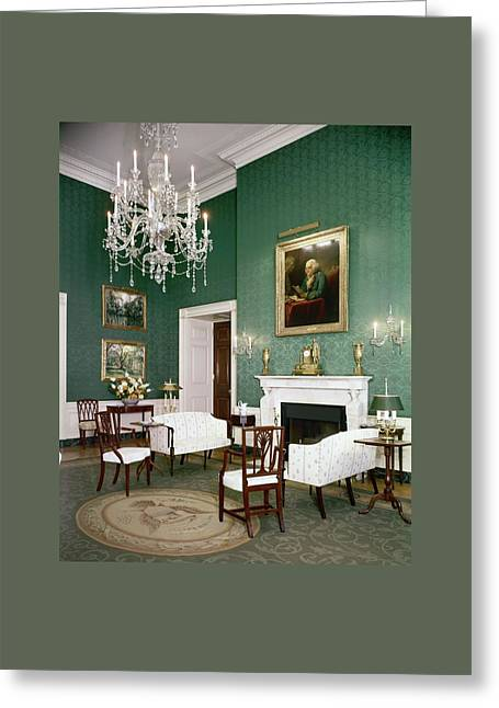 Green Room In The White House Greeting Card by Tom Leonard