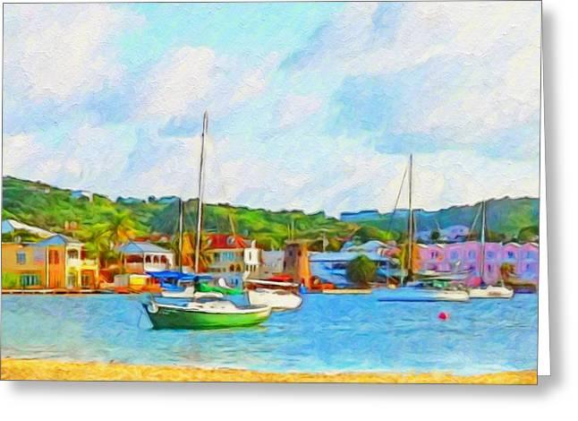 Green Sailboat On Mooring - Horizontal 1 Greeting Card