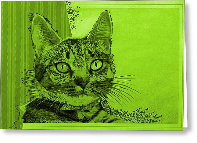 Green Sanguine ... Abstract Cat Art Painting Greeting Card by Amy Giacomelli