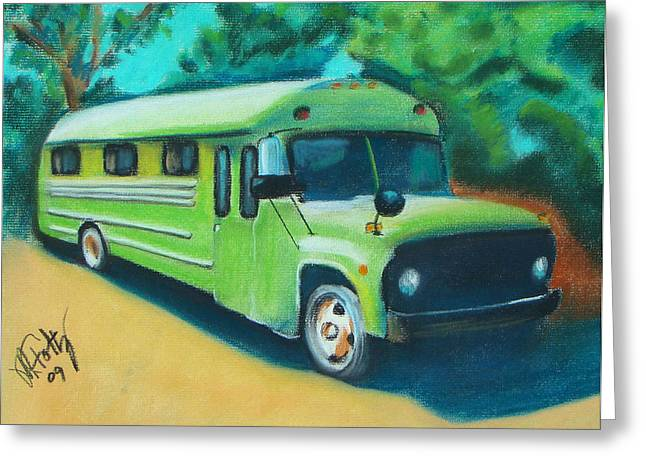 Green School Bus Greeting Card