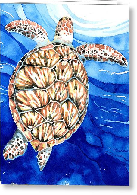 Green Sea Turtle Surfacing Greeting Card