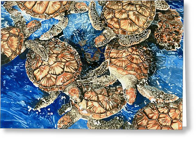 Green Sea Turtles Greeting Card