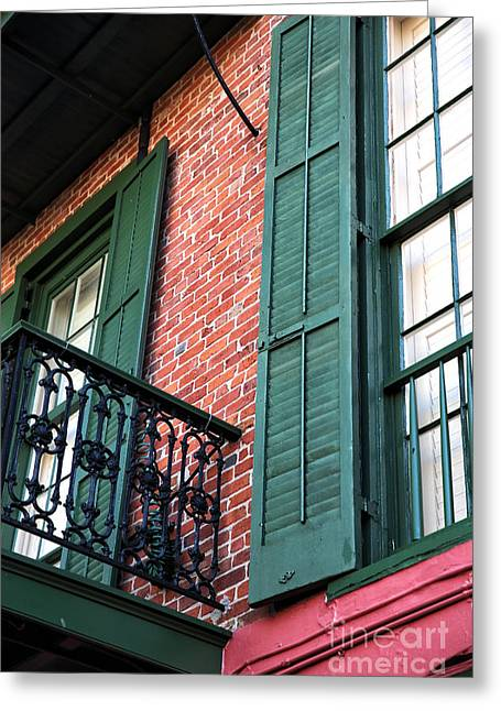 Green Shutters In The Quarter Greeting Card by John Rizzuto