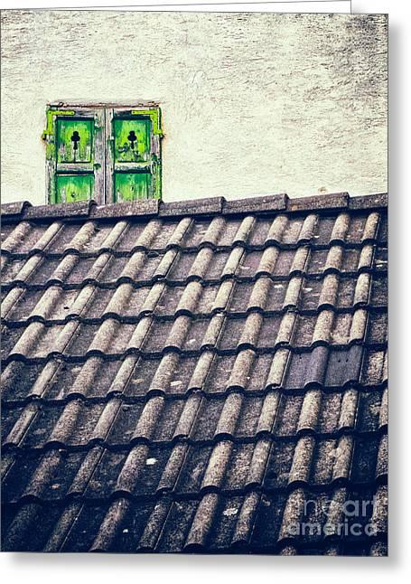 Green Shutters Greeting Card