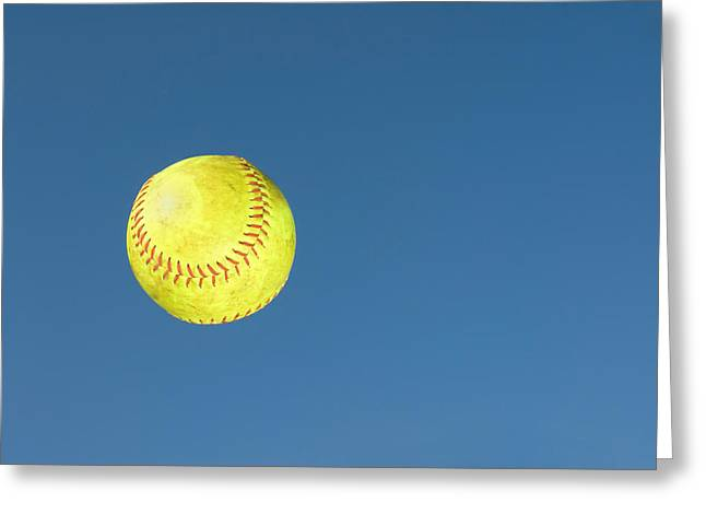 Green Softball Greeting Card